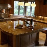 large kitchen island with attached sink