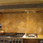 brown tile backsplash