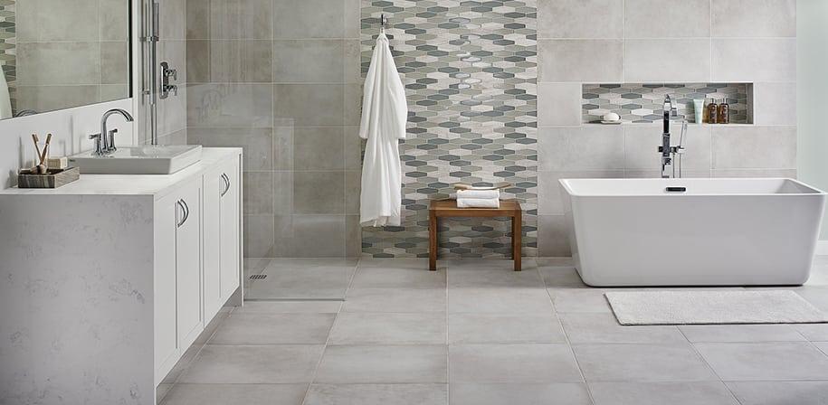 white quartz bathroom counters