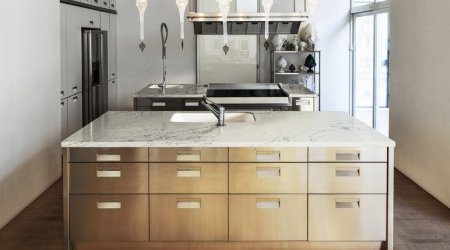 ivory counter and light brown drawers