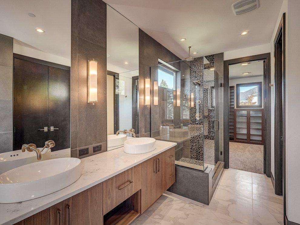 white quartz bathroom counter