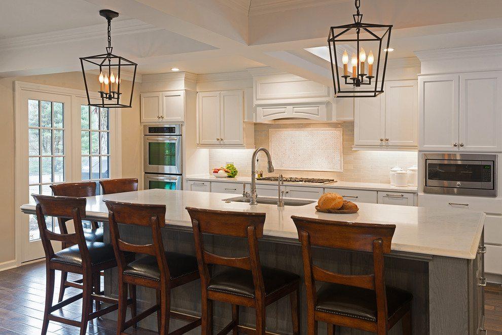 white quartz kitchen island