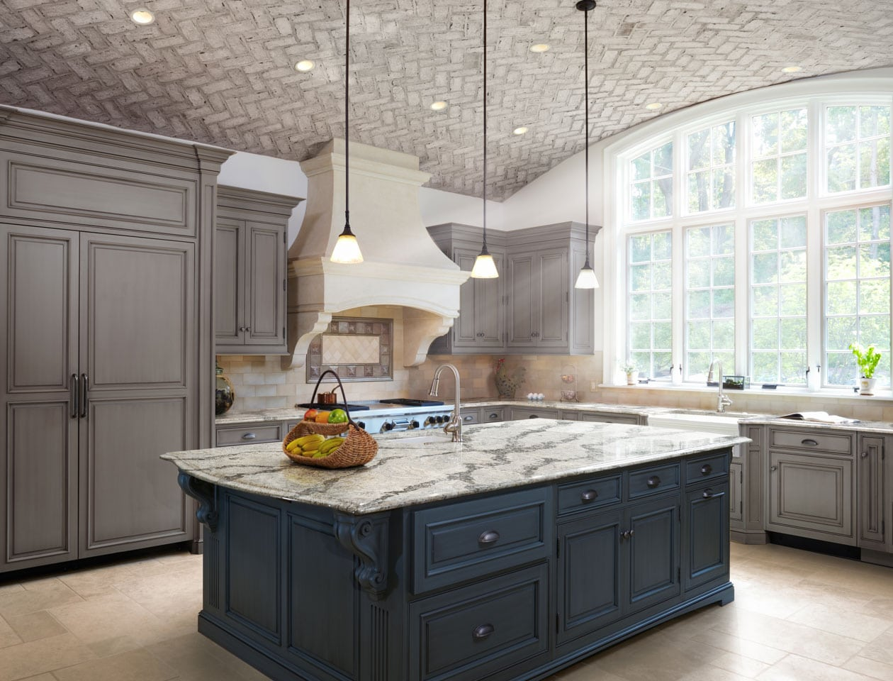 natural stone counter top and black cabinets