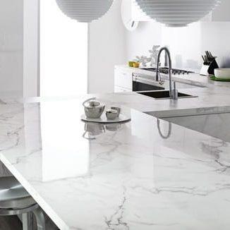 white quartz kitchen counter